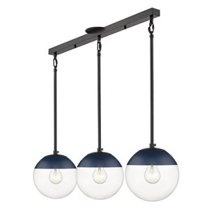 Golden Lighting Dixon Linear Clear Glass Pendant with and Navy Cap - Black