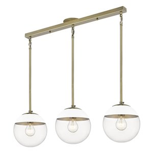 Golden Lighting Dixon Linear Aged Brass Pendant Light with White Cap - Gold