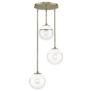 Golden Lighting Dixon 3-Light Aged Brass Pendant Light with White Cap - Gold