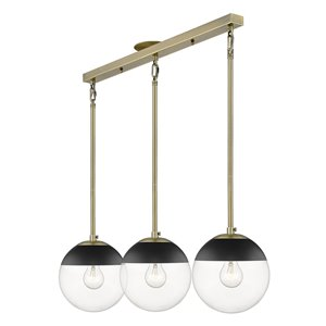 Golden Lighting Dixon Linear Aged Brass Pendant Light with Black Cap - Gold