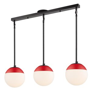 Golden Lighting Dixon Linear Pendant Light with Opal Glass and Red Cap - Black
