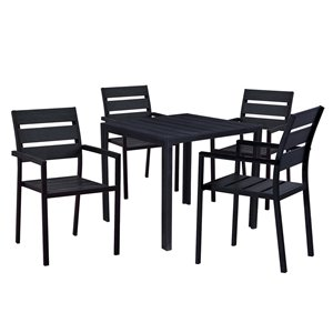 Oakland Living Patio Dining Set - Steel - 5-Piece - Black ... on Oakland Living Patio Sets id=70671