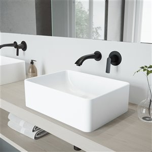 VIGO Amaryllis Bathroom Sink - 19.75-in - Matte Black Faucet