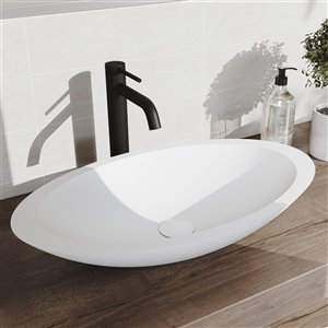 VIGO Wisteria Matte White Bathroom Sink - Matte Black Faucet