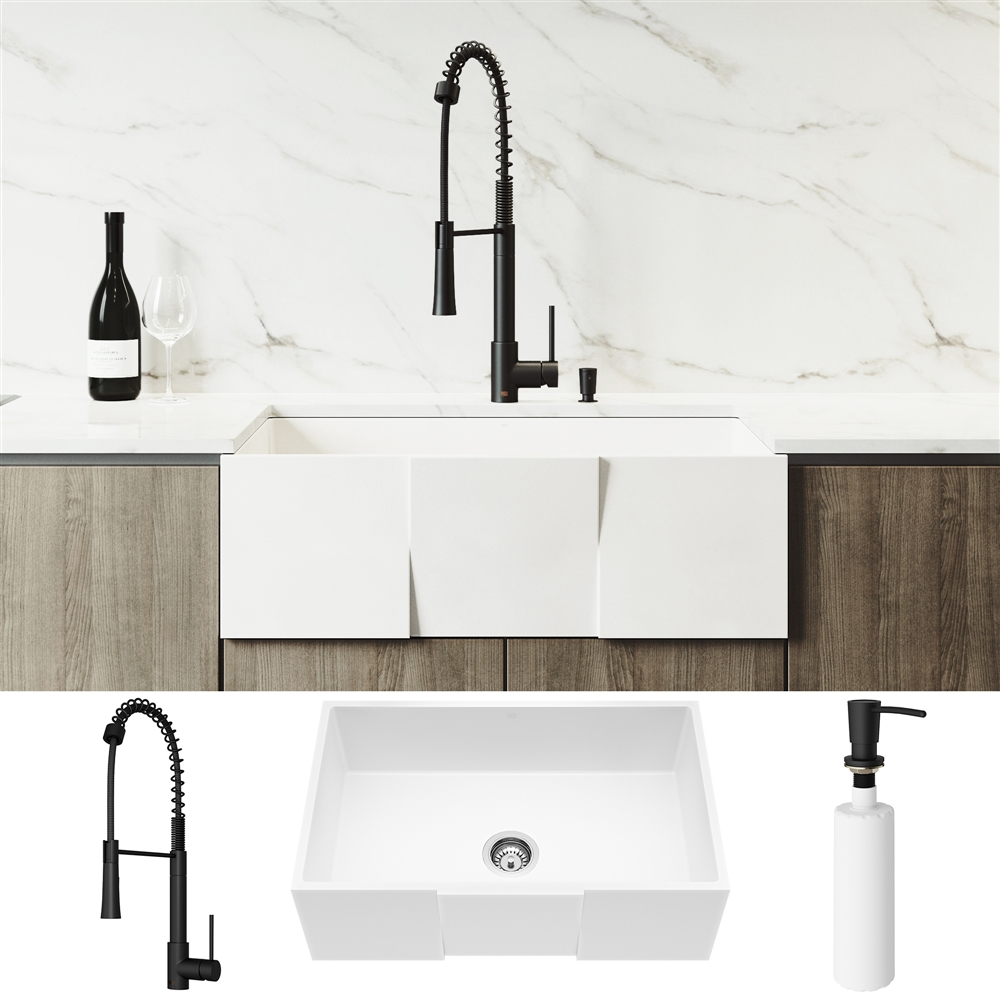Vigo Matte Stone White Kitchen Sink With Matte Black Faucet Single Bowl Lowe S Canada