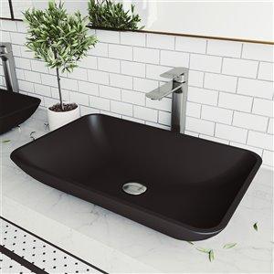 VIGO Hadyn Matte Black Bathroom Sink - Brushed Nickel Faucet