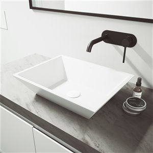 VIGO Vinca Matte White Bathroom Sink - 18-in - Matte Black Faucet