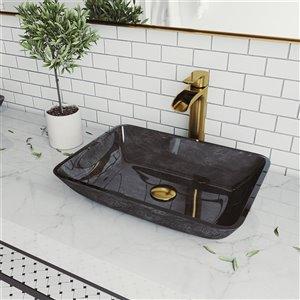 VIGO Onyx Grey Onyx Bathroom Sink - Matte Gold Faucet