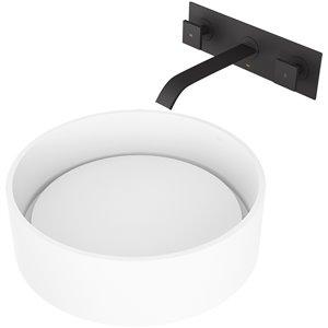 VIGO Anvil Matte White Bathroom Sink - 16-in - Matte Black Faucet