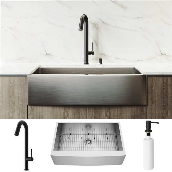 Vigo Camden Stainless Steel Kitchen Sink With Matte Black Faucet Single Bowl 39 In Lowe S Canada