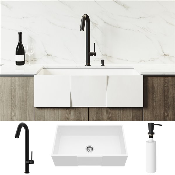 Vigo Kitchen Sink With Matte Black Faucet Single Bowl 36 In X 25 In White Lowe S Canada