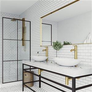 VIGO Wisteria Matte White Bathroom Sink - Matte Gold Faucet