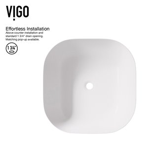 VIGO Camellia White Bathroom Sink - 14.38-in - Brushed Nickel Faucet