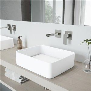 VIGO Jasmine Matte White Bathroom Sink - Brushed Nickel Faucet