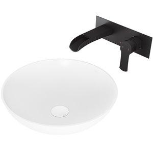 VIGO Lotus Matte White Bathroom Sink - 16-in - Matte Black Faucet