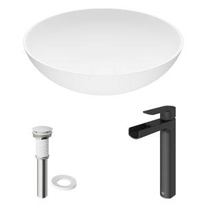 VIGO Lotus Matte White Bathroom Sink - Matte Black Faucet