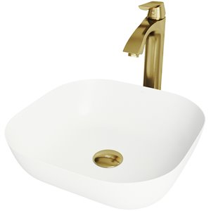 VIGO Camellia Matte White Bathroom Sink - Matte Gold Faucet
