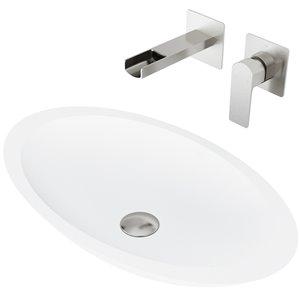 VIGO Wisteria Matte White Bathroom Sink - 23.13-in - Brushed Nickel Faucet