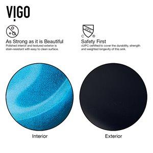VIGO Turquoise Water Turquoise Bathroom Sink - Matte Black Faucet
