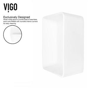 VIGO Marigold Matte White Bathroom Sink - 17.75-in - Brushed Nickel Faucet