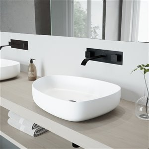 VIGO Peony Bathroom Sink - 20-in - Matte Black Faucet