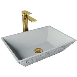 VIGO Calendula Light Grey Bathroom Sink - Matte Gold Faucet
