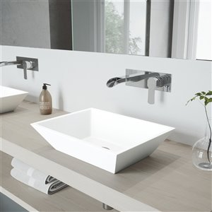 VIGO Vinca Matte White Bathroom Sink - Chrome Faucet