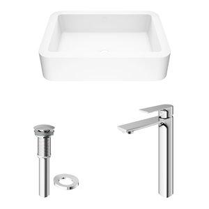 VIGO Petunia White Bathroom Sink - 22.75-in - Chrome Faucet