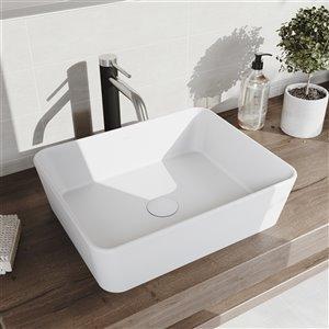 VIGO Marigold Bathroom Sink - 17.75-in - Brushed Nickel Faucet