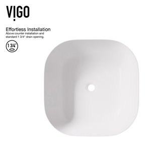 VIGO Camellia Matte White Bathroom Sink - 14.38-in - Chrome Faucet