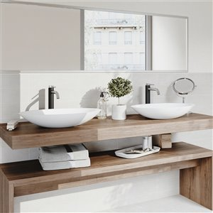 VIGO Wisteria White Bathroom Sink - 23.13-in - Chrome Faucet
