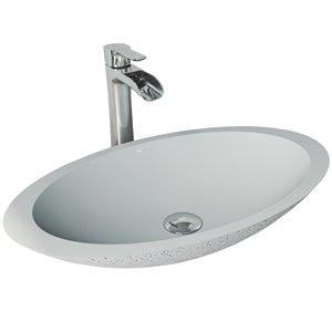VIGO Yarrow Light Grey Bathroom Sink - Chrome Faucet