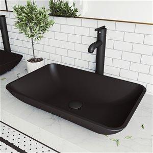 VIGO Hadyn Matte Black Bathroom Sink - Matte Black Faucet