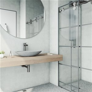 VIGO Yarrow Light Grey Bathroom Sink - Graphite Black Faucet