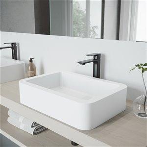 VIGO Petunia Matte White Bathroom Sink - 22.75-in - Matte Black Faucet