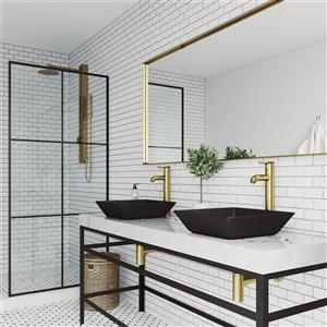 VIGO Roma Matte Black Bathroom Sink - Matte Gold Faucet