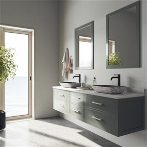 VIGO Titanium Grey Bathroom Sink - Matte Black Faucet