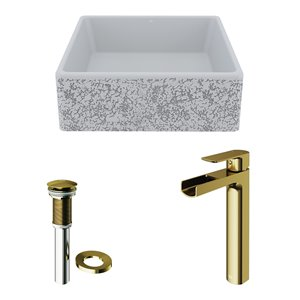 VIGO Aster Light Grey Bathroom Sink - Matte Gold Faucet