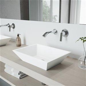 VIGO Vinca Bathroom Sink with Chrome Faucet - 18-in - Matte White