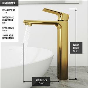 VIGO Hadyn Matte Black Bathroom Sink - Matte Gold Faucet