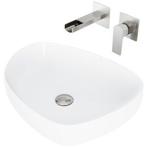VIGO Peony Bathroom Sink - 20-in - Brushed Nickel Faucet