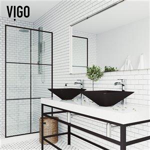 VIGO Serato Matte Black Bathroom Sink - Chrome Faucet