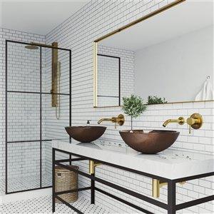 VIGO Russet Brown Bathroom Sink - Matte Gold Faucet