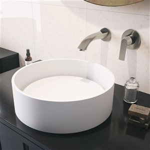 VIGO Anvil Matte White Bathroom Sink - 16-in - Brushed Nickel Faucet