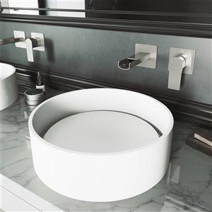 VIGO Anvil Matte White Bathroom Sink - Brushed Nickel Faucet