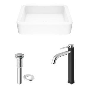 VIGO Petunia Matte White Bathroom Sink - Chrome Faucet
