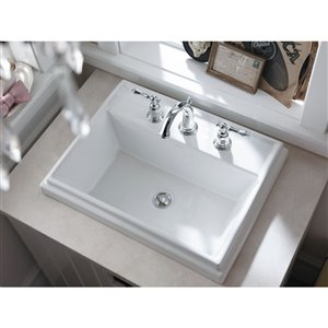 KOHLER Tresham Vanity-Top Sink with 8-in Widespread Faucet Holes - Off-White