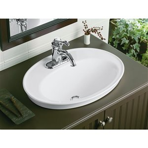 KOHLER Serif Drop-In Bathroom Sink with Centerset Faucet Holes - 16-in - White
