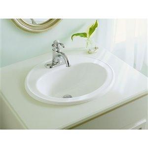 KOHLER Pennington Drop-In Bathroom Sink with Single Faucet Hole - 17-in - Black
