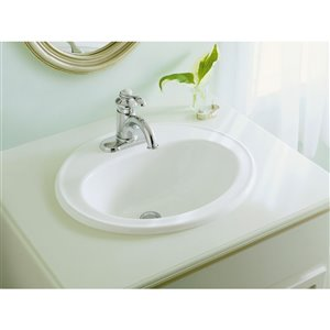 KOHLER Pennington Drop-In Bathroom Sink with Single Faucet Hole - Off-White